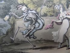 Thomas Rowlandson; Dance of Death, Todentanz, Ars Moriendi; hand colored aquatinta - The Night Out - 1815