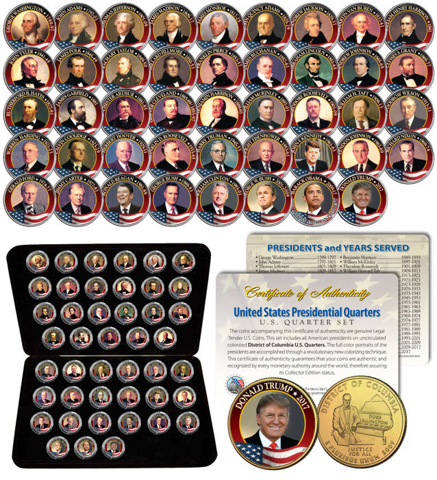 USA - Presidents Complete Set Colorized Washington DC Quarters (45 pcs) - 24K Gold Plated