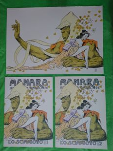 "Manara, Milo - complete works ""Lo Scimmiotto"" 1 and 2"" + cover test print (1989)"