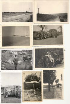 Third Reich; Lot of 60 original photos of German army / air force vehicles, trucks, motorcycles, guns, half track vehicle in France, Belgium, Netherlands, Russia WW II