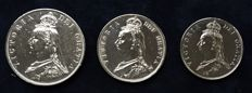 United Kingdom - Double Florin 1887, ½ Crown 1887 and 2 Shilling 1887 Victoria (3 pieces) - Silver