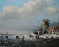 L.van Vugt (1952-) - Winter view with old homes, mill and ice-skaters