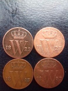 The Netherlands - ½ cent- 1822, 1823B, 1843, 1857 Willem !, II and III - 4 pieces -  copper