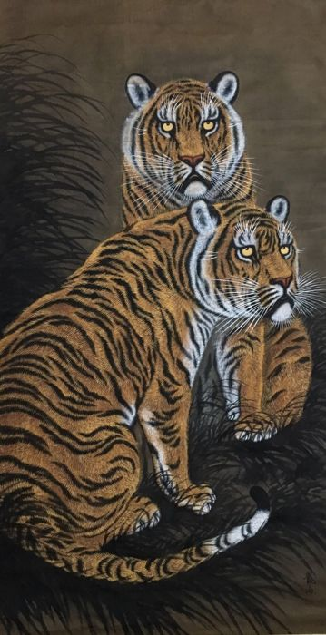 'Two Tigers' - detailed scroll painting on cloth (102 x 210cm) - Japan - second half/late 20th century