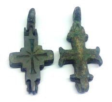 Medieval Crusaders reliquary (double cross - Enkolpion) pendant 42x20, 42x20 mm (2)