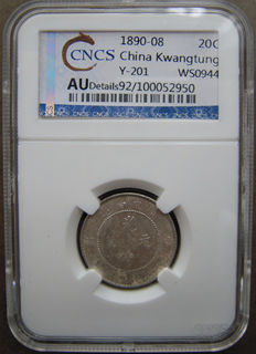 China, Kwangtung - 20 Cents 1890-1908 in CNCS Slab - silver