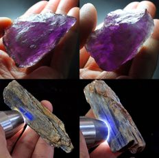 Nice collection of unheated/untreated purple / yellow ametrine & blue kyanite crystals - 785,1ct (4)
