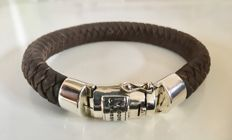 Buddha 2 Buddha leather bracelet with silver clasp - length: 21 cm