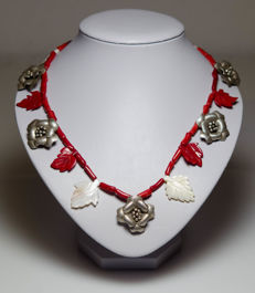 Necklace with blood corals, mother-of-pearl and silver - handmade, carving, NO reserve price!