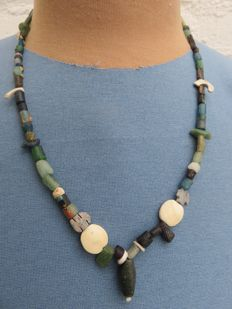 Archaeological beaded necklace with stone and glass beads - 52 cm. + 2 cm.