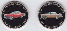 Surinam - 100 Guilder 1996 USA Thunderbird 1956 and 1957 (2 different coins)