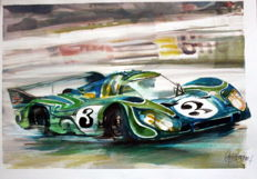 Porsche. 917 LH (from Lang Heck) 24 Le Mans - Original Watercolour - 35 x 50 cm - By Gilberto Gaspar