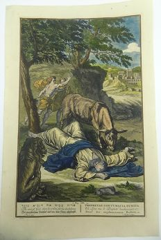 Very large engraving by Bernard Picart (1673-1733) - Straf des ongehoorzamen Profeets - Man of God Slain by a Lion - Un Lion tue le Prophete desobeissant - copper engraving - 1728