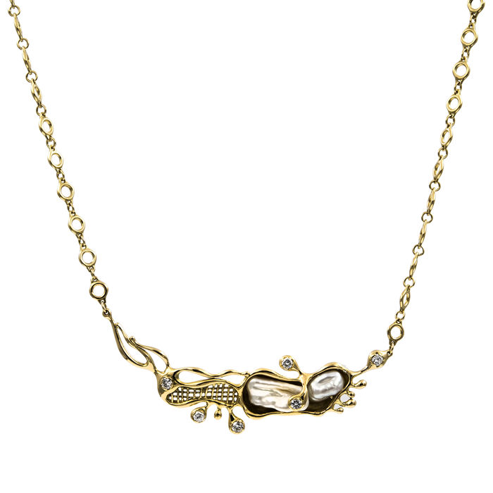 Yellow gold 18 kt - Choker and pendant - Brilliant cut diamond, 1.50 ct - Natural Keshi shaped cultured pearls
