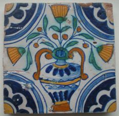 Antique tile with polychrome flowerpot (rare flower)