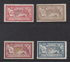 France 1900 - 40c, 50c, 1Fr. + 5Fr. Type Merson - Yvert n° 119, 120, 121 and 123