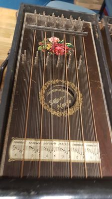 Vintage salon harp zither, two in box