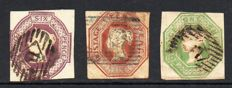 Great Britain, Queen Victoria 1848 - 6d Mauve 10d Brown and 1/- Green, Embossed Issue Set