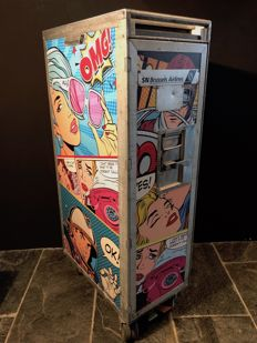 Brussels Airlines aeroplane trolley, 2/3 size - with 'Pop-Art' images