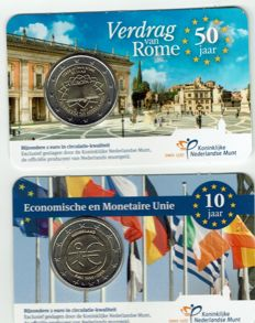 The Netherlands - 2 Euro 2007 'Treaty of Rome' + 2 Euro 2009 'EMU' in coin cards