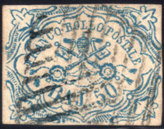 Papal 1852 - 50 baj. Light blue - Sassone No. 10