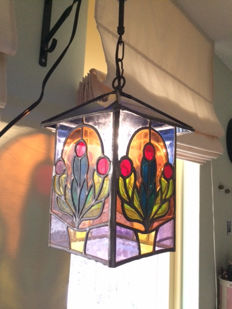 Hanging lamp, stained glass with hand-stained mosaic pieces - circa 1960