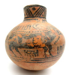 Indus Valley Painted Terracotta Jar with Bull Motif - 105 x 108 mm