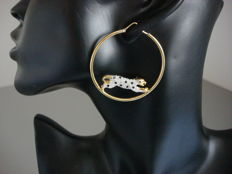 """Airoldie"", Italy - Gold pplated hoop earrings with leopard (double sided) and rhinestones"