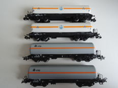 Märklin H0 - 4630/4628 - Four 4-axle tanker wagons 'VTG' and 'Brüninghaus' of the DB