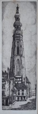 J L Braams (1913-1997) and unknown signed - Two etchings Lange Jan in Middelburg