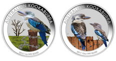 Australia - 2 x 1 dollar Kookaburra 2016 + 2017 - 2 x 1 999 silver - Exclusive colour edition