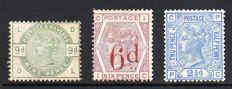 Great Britain, Queen Victoria - SG195 9d Dull Green SG162 6d on 6d lilac and SG157 21/2d Blue