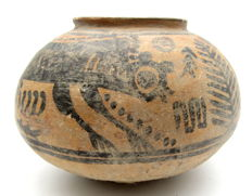 Indus Valley Painted Terracotta jar with Monkey Motif - 120x80 mm