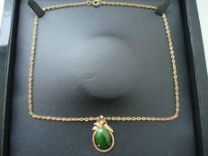 Vintage (1970s) - Yellow Gold plated filigree Unisex Necklace with real green 7ct Canadian Jade Pendant - NO Reserve