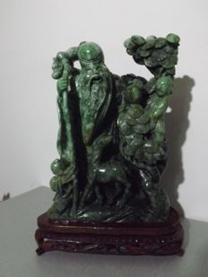 Large Shoulao sculpture (26 cm), spinach green serpentine - China - second half of 20th century