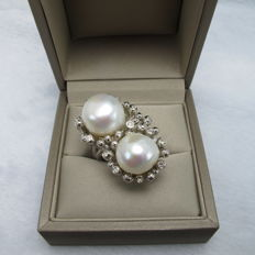 14-12.4 mm Freshwater pearls and o.70 ct Topaz ring - Size USA 7, France: 55, UK: O, China: 14, diameter 17.2 mm