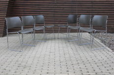 David Rowland for Howe - 6 original metal '40/4' stackable steel wire chairs (lot 1)