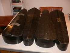 4 wooden antique violin cases, over 100 years old