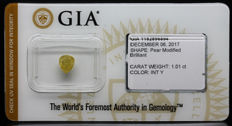 1.01 ct. GIA Certified Natural Fancy INTENSE Yellow, Even Diamond - NO RESERVE