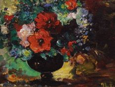 Unknown artist (20th century) - Untitled - Still life with vase of flowers
