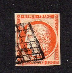 France 1850 – Cérès 40 c orange – Yvert no. 5