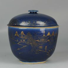Large Kangxi Powder Blue Gilded Jar - China - Ca 1700 Kangxi period