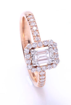 Ring in 18k rose gold decorated by diamonds 1.00ct total -  #Accompanied by jewelery certificate#