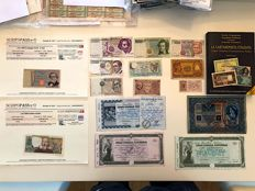 """Italy - Kingdom and republic - collection of 15 banknotes, some of them with COA certificate of authenticity + new catalogue """"La cartamoneta italiana 2017-2018"""""""