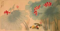 Hand painted large scroll painting  - China - late 20th century