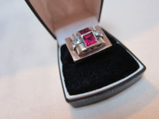 Art Deco Silver Tank ring with gold and 2 synthetic rubies