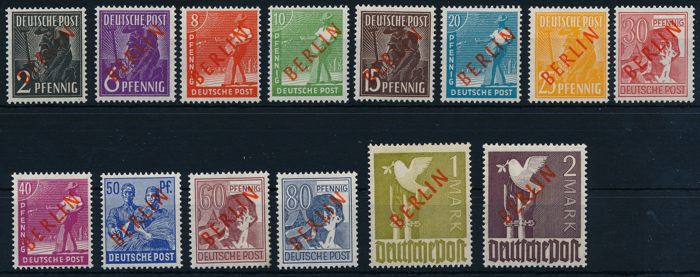 "Berlin – 1949 – "" so-called red overprint"" 2 Pf to 2 Mark"", Michel 21 -34"