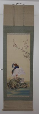 Antique hand-painted silk painting - 'Mandarin duck' - Signed - Japan - c. 1930s