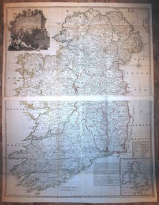 Wall map of Ireland; 2 maps - Laurie & Whittle - A map of the Kingdom of Ireland - 1794