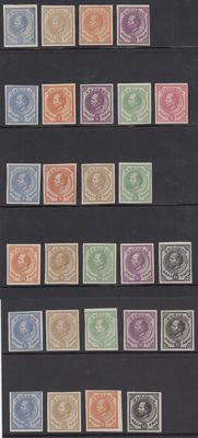 Curaçao 1873 – Selection of 27 colour proofs from PC1-6